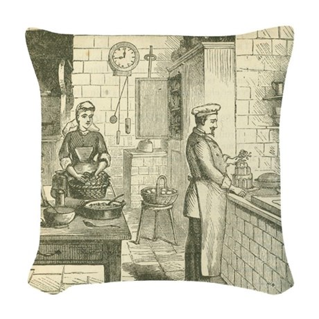 French Victorian Era Kitchen Woven Throw Pillow by VintagePhoenix