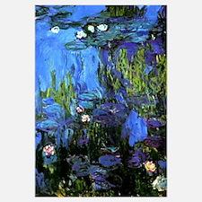 Monet painting, Water-Lilies blue indigo