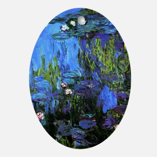 Monet painting, Water-Lilies blue in Oval Ornament