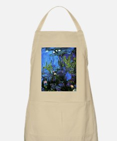 Monet painting, Water-Lilies blue indigo Apron