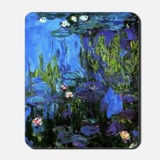 Monet painting, Water-Lilies blue indigo Mousepad