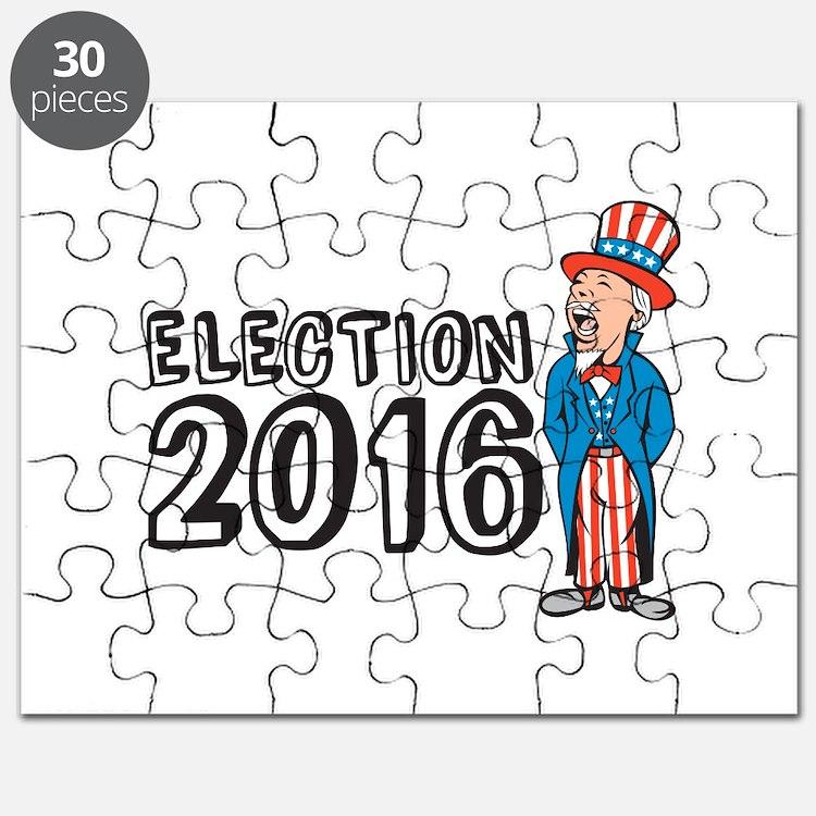 Election 2016 Uncle Sam Shouting Retro Puzzle