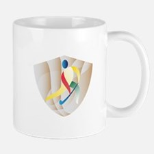 Field Hockey Player Shield Retro Mugs