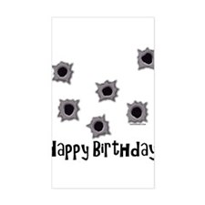 Happy Birthday Bullets Rectangle Decal