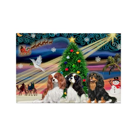 XMAS MAGIC / 3 Cavaliers Rectangle Magnet (10 pack