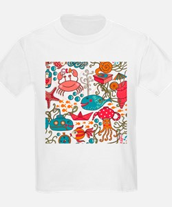 Cute Colorful Sea-Life Illustration Patter T-Shirt