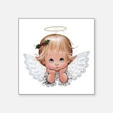 Cute Christmas Baby Angel Head In Hands Sticker