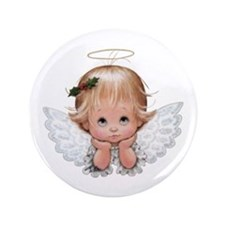 Cute Christmas Baby Angel Head In Hands Button