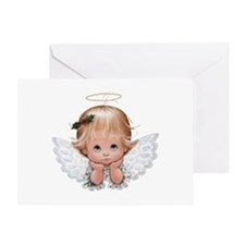 Cute Christmas Baby Angel Head In Greeting Cards