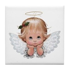 Cute Christmas Baby Angel Head In Tile Coaster
