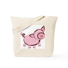 Pink/Brown Piggy Tote Bag
