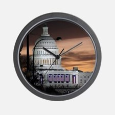 United States Capitol Building at Dusk Wall Clock