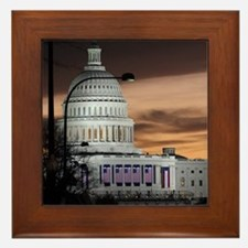 United States Capitol Building at Dusk Framed Tile