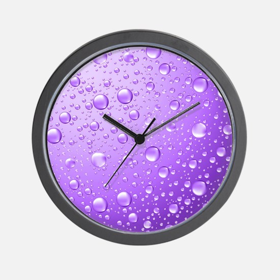 Metallic Purple Abstract Rain Drops Wall Clock