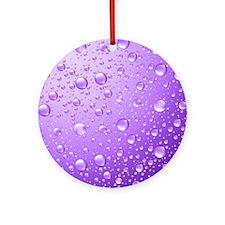 Metallic Purple Abstract Rain Drops Round Ornament