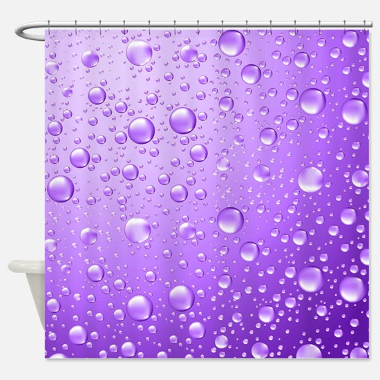Metallic Purple Abstract Rain Drops Shower Curtain