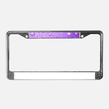 Metallic Purple Abstract Rain License Plate Frame