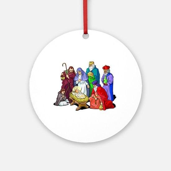 Colorful Christmas Nativity Scene Round Ornament