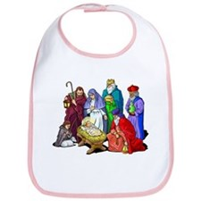 Colorful Christmas Nativity Scene Bib