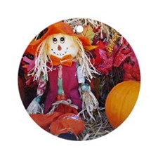 Little Mister Scarecrow Round Ornament