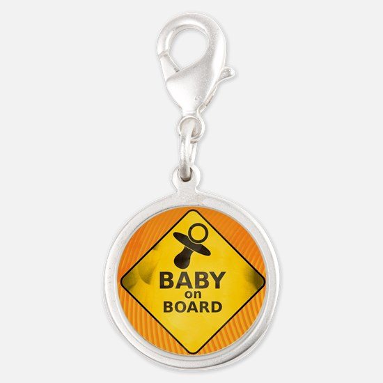 Baby on Board Silver Round Charm