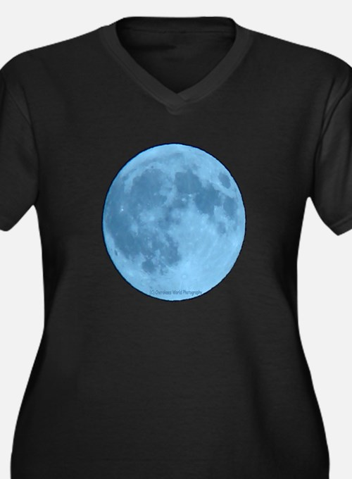 Once in a Blue Moon Women's Plus Size V-Neck Dark