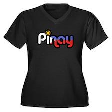Pinay Women's Plus Size V-Neck Dark T-Shirt