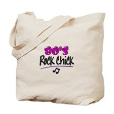 80's Rock Chick with Black Notes Tote Bag