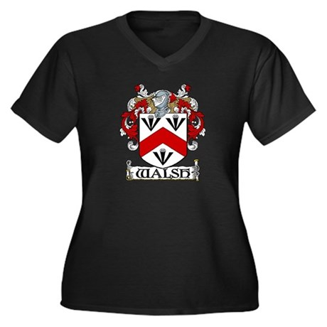 Walsh Coat of Arms Women's Plus Size V-Neck Dark T