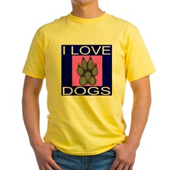 I Love Dogs Yellow T-Shirt