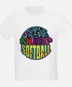 Eat Sleep Softball Wild Animal Print T-Shirt