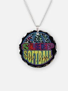 Eat Sleep Softball Wild Animal Print Necklace