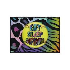 Eat Sleep Softball Wild Animal Print 5'x7'