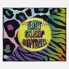 Eat Sleep Softball Wild Animal Print King Duvet