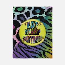 Eat Sleep Softball Wild Animal Print Twin Duvet