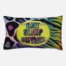 Eat Sleep Softball Wild Animal Print Pillow Case
