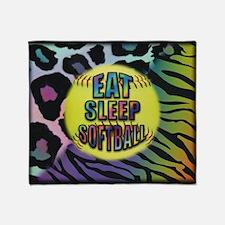 Eat Sleep Softball Wild Animal Print Throw Blanket