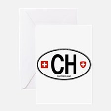 Switzerland Euro Oval Greeting Card