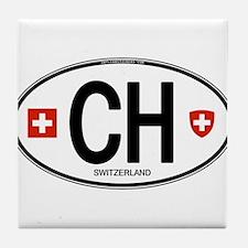 Switzerland Euro Oval Tile Coaster