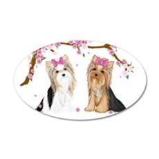Yorkies In Blossom Wall Decal