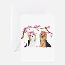 Yorkies in Blossom Greeting Cards