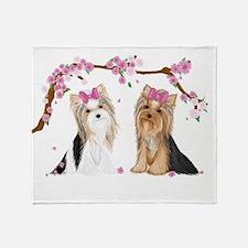 Yorkies In Blossom Throw Blanket