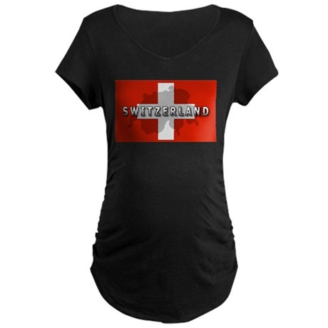 Switzerland Flag Plus Maternity Dark T-Shirt