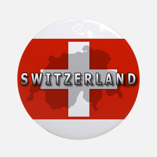 Switzerland Flag Plus Ornament (Round)
