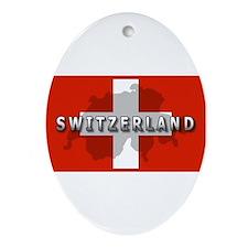Switzerland Flag Plus Oval Ornament