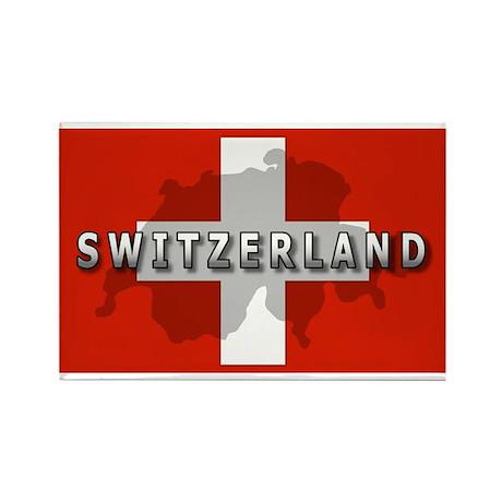 Switzerland Flag Plus Rectangle Magnet