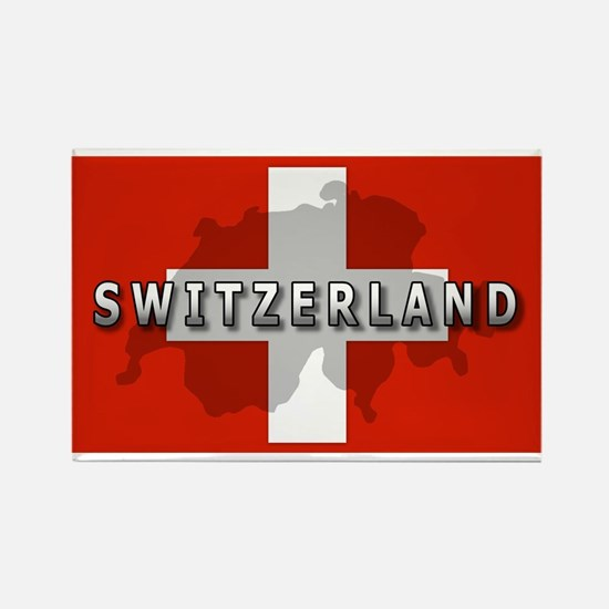 Switzerland Flag Plus Rectangle Magnet