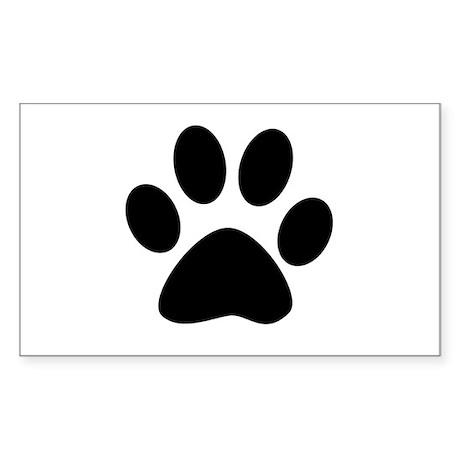 Black Paw Rectangle Sticker