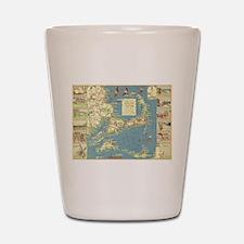 Vintage Cape Cod Map (1940) Shot Glass