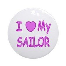 I love my Sailor (Pink) Ornament (Round)